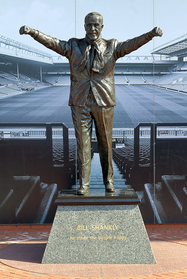 Statue of Bill Shankly, Anfield, Liverpool - from https://commons.wikimedia.org/wiki/File:Bill_Shankly_statue,_Anfield_2018.jpg